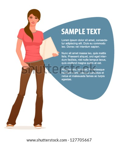 illustration of a beautiful young student girl in jeans - stock vector