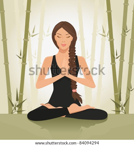 illustration of a beautiful young woman meditating in yoga lotus position - stock vector