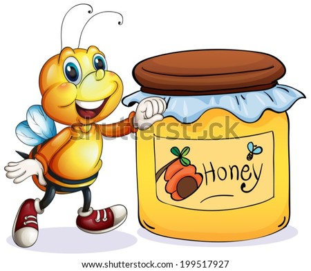 Illustration of a bee beside the jar of honey on a white background - stock vector