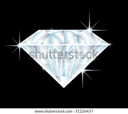 illustration of a big diamond on black background - stock vector