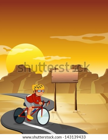 Illustration of a biker at the desert with an empty signboard - stock vector