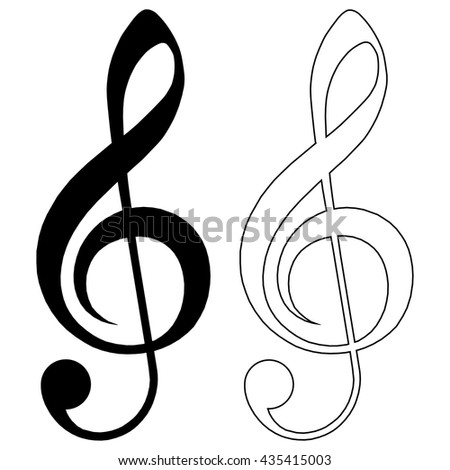 Illustration of a black and black stroke clef isolated on white background - stock vector