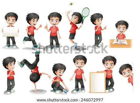 Illustration of a black hair boy in different position - stock vector