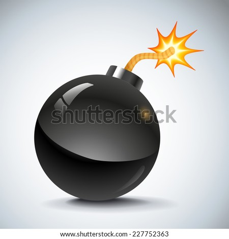 illustration of a black retro bomb - stock vector