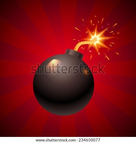 illustration of a black retro bomb - stock vector