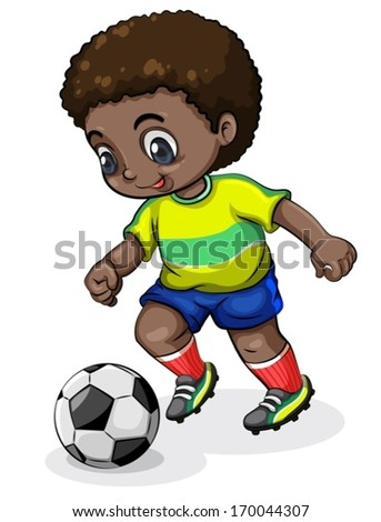Illustration of a Black soccer player on a white background - stock vector