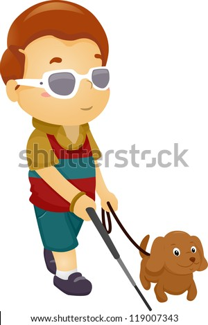Illustration of a Blind Boy Being Guided by a Seeing Eye Dog - stock vector