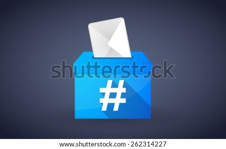 Illustration of a blue ballot box with a hash tag - stock vector