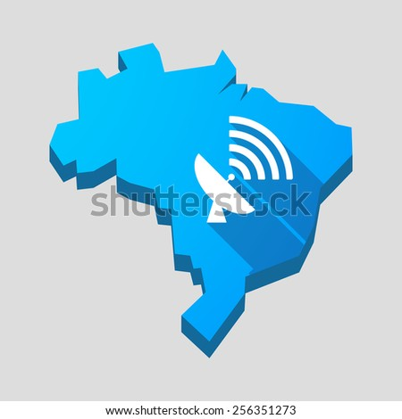 Illustration of a blue Brazil map with a satellite dish - stock vector