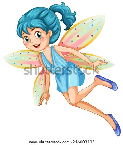 Illustration of a blue fairy - stock vector