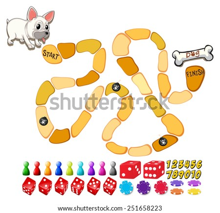 Illustration of a board game with dog and bone - stock vector