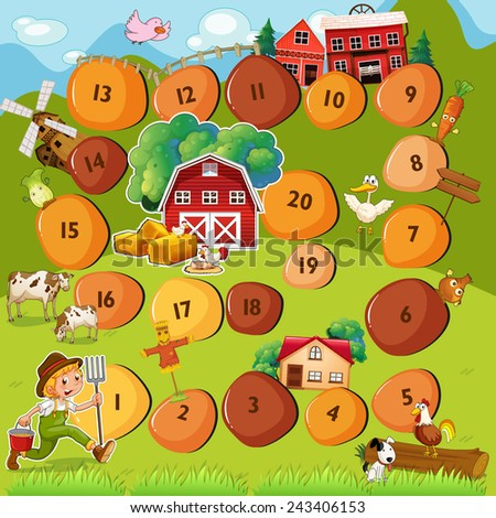 Illustration of a boardgame with farm scene - stock vector