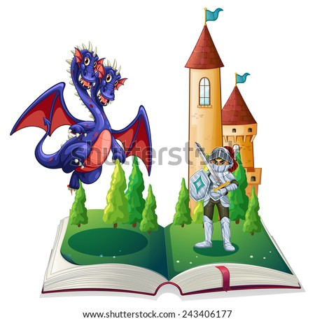 Illustration of a book of a knight and a dragon - stock vector