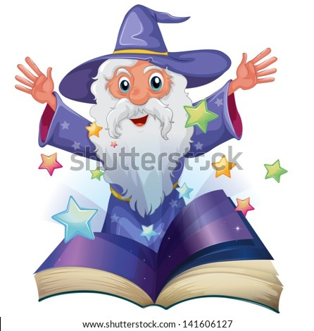 Illustration of a book with an image of an old man with many stars on a white background - stock vector