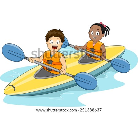 Illustration of a Boy and a Girl Maneuvering a Kayak - stock vector