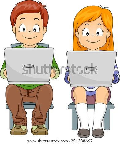 Illustration of a Boy and a Girl Using Laptops - stock vector