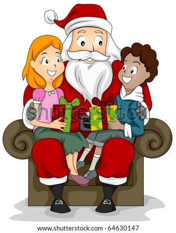Illustration of a Boy and Girl Sitting on the Lap of a Man Dressed in a Santa Claus Costume - stock vector