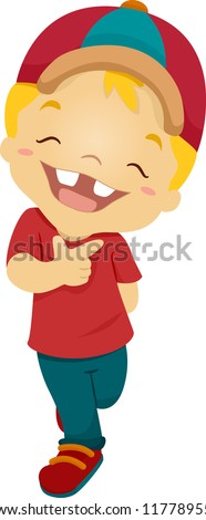 Illustration of a Boy Beaming Happily - stock vector