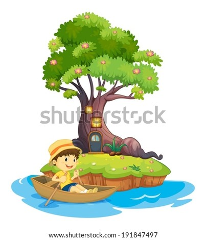 Illustration of a boy boating on a white background - stock vector