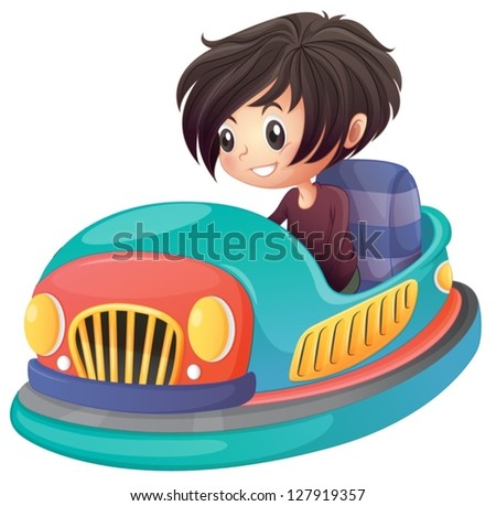 Illustration of a boy driving bumper car on a white background - stock vector