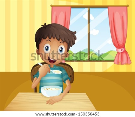 Illustration of a boy eating cereals inside the house - stock vector
