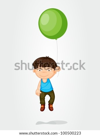 Illustration of a boy floating with a balloon - stock vector