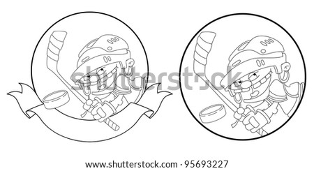 illustration of a boy hockey banner outlined - stock vector