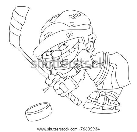 illustration of a boy hockey outlined - stock vector