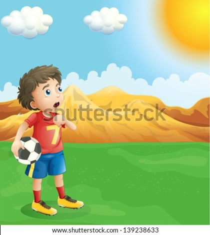 Illustration of a boy holding a soccer ball sweating - stock vector