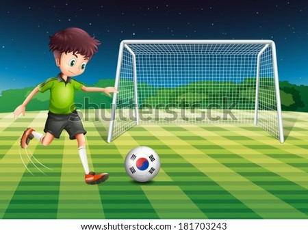 Illustration of a boy kicking the ball with the South Korean flag - stock vector