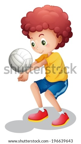 Illustration of a boy playing volleyball on a white background - stock vector