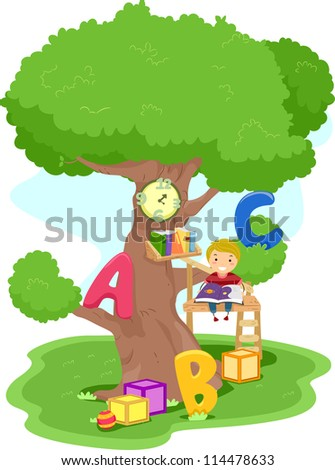 Illustration of a Boy Reading in a Treehouse - stock vector