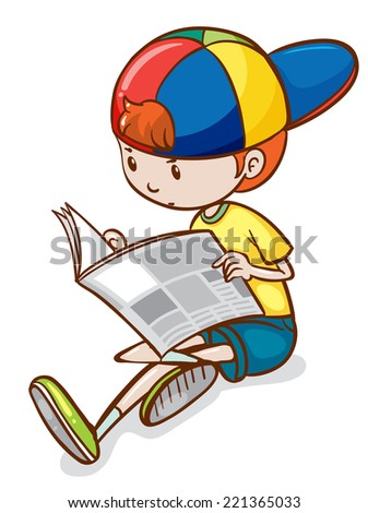 Illustration of a boy reading newspaper - stock vector