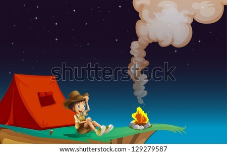 Illustration of a boy scout camping near the cliff - stock vector