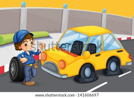 Illustration of a boy standing in front of a car with a flat tire - stock vector