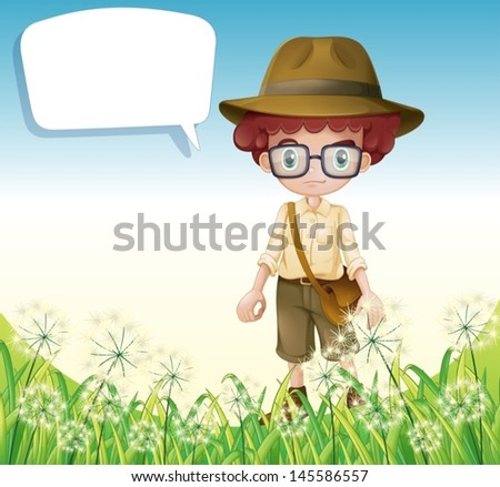 Illustration of a boy standing near the grass with an empty callout - stock vector