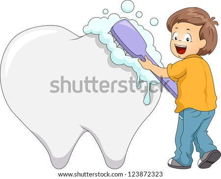Illustration of a Boy Using a Large Toothbrush to Clean a Giant Tooth - stock vector