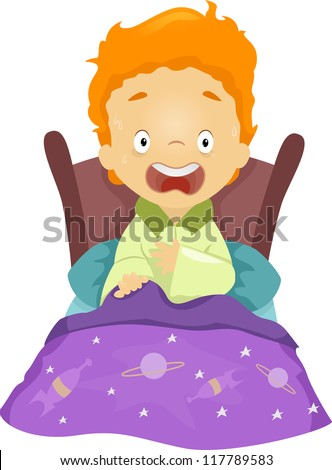 Illustration of a Boy Waking Up from a Nightmare - stock vector