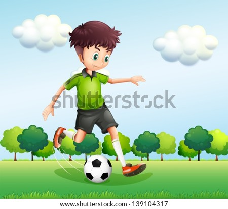Illustration of a boy with a green t-shirt playing football - stock vector