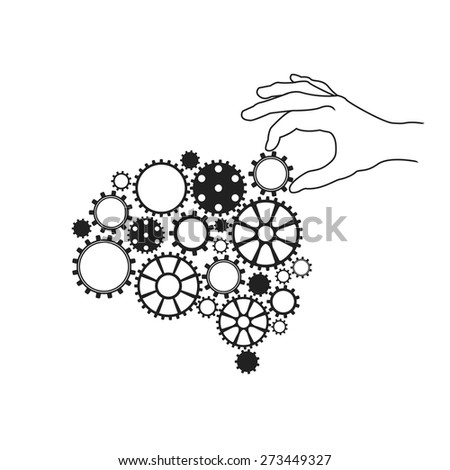 Illustration of a brain like a mechanism with gears. Hand of human adjusts gear - stock vector