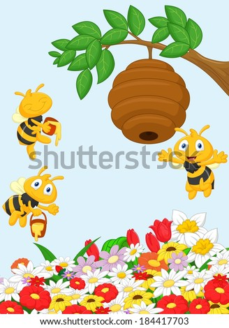 Illustration of a branch of a tree with a beehive and a bee  - stock vector