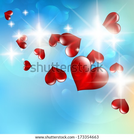 Illustration of a bright flow hearts. EPS10 - stock vector