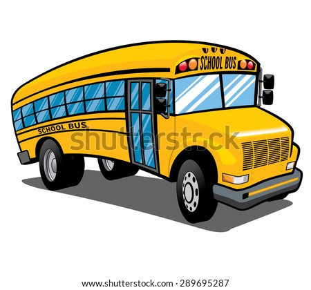 illustration of a bright yellow children's school bus  - stock vector