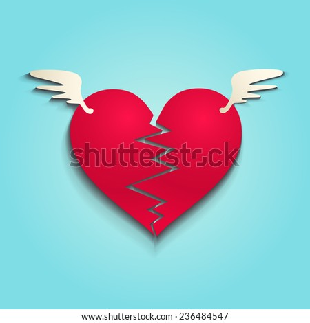 illustration of a broken heart - stock vector