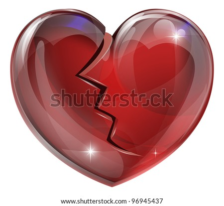 Illustration of a broken heart with a crack. Concept for heart disease or problems, being heartbroken, bereaved or unlucky in love. - stock vector