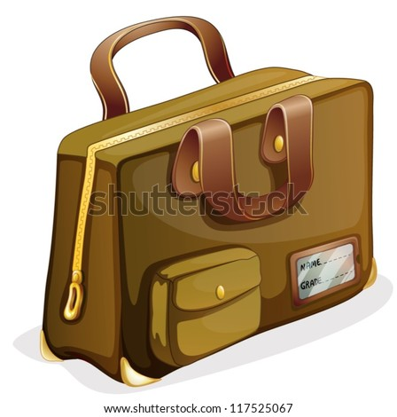 illustration of a brown bag on a white background - stock vector