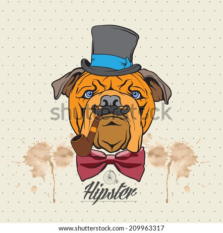 Illustration of a bulldog head with hat and bow tie - stock vector