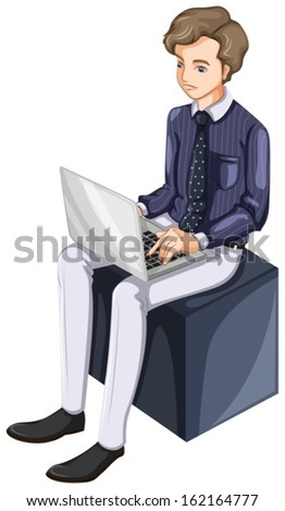Illustration of a businessman using a laptop on a white background - stock vector