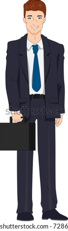 Illustration of a Businessman with a Retro Look - stock vector