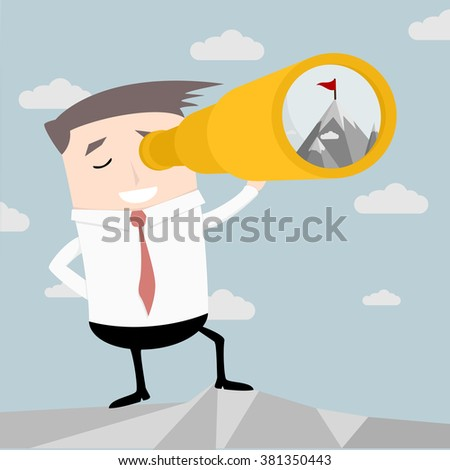 illustration of a businessman with spyglass finding a goal, eps10 vector - stock vector